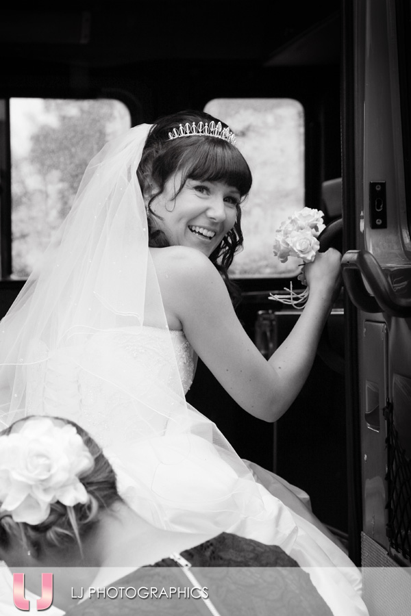 Bride exiting Fire Engine!